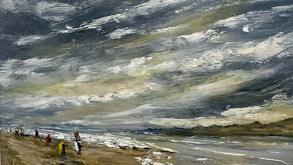 STROLL ALONG THE BEACH Original Oil on board Artist: Monty