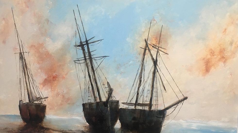 TRAWLERS AT LYME BAY Original Oil & Bitumen Artist: David Chambers