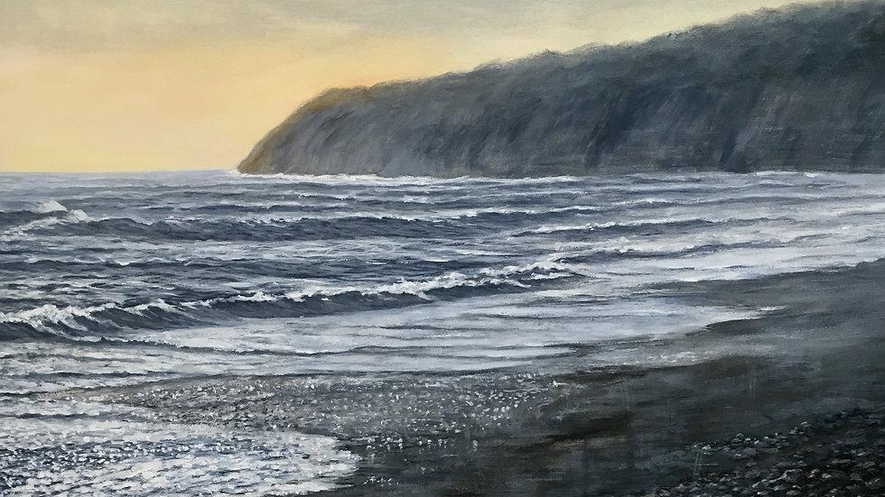 STORMY SEA MONMOUTH BEACH Original Acrylic Artist: Sue Lewin