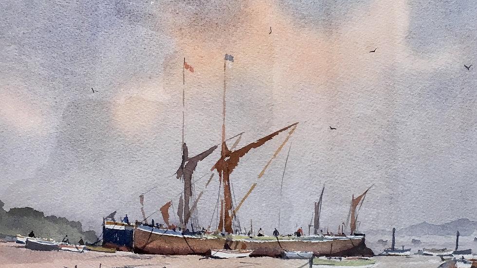 THAMES BARGES AT REST Original Watercolour Artist: Sidney Cardew RSMA