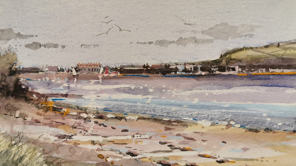 LOW TIDE ON THE EXE Original Watercolour Artist Barry Seaforth