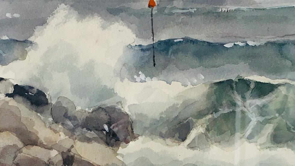 SIDMOUTH ROLLING SEAS Original watercolour Artist David Clarke
