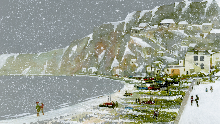 BUDLEIGH SALTERTON AT WINTER (1) Original Multimedia Artwork Artist Bob Bradshaw