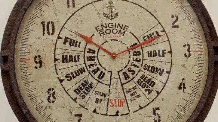 NAUTICAL TIME Original metal structure clock