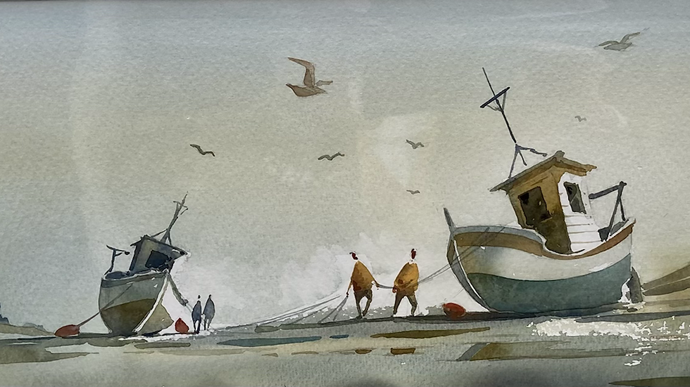 BRINGING IN THE NETS Original Watercolour Artist MIKE JACKSON