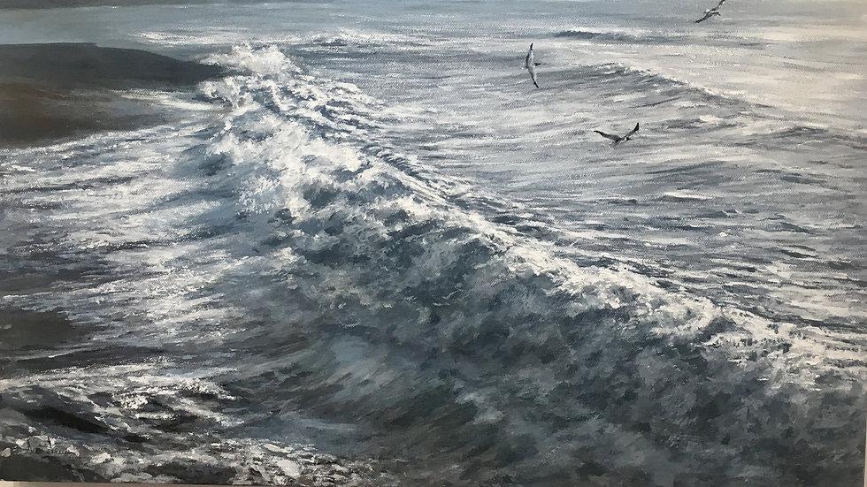 BREAKWATER II Original Acrylic on canvas by Artist: Sue Lewin