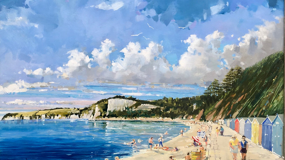 SUMMERS DAY WESTWALK SEATON Artist Barry Seaforth Oil on board