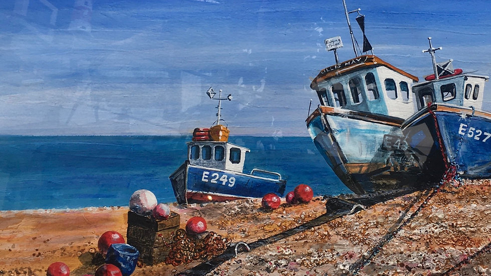BLUE BOATS ON BEER BEACH Artist Christine Taylor Mixed Media Actylic