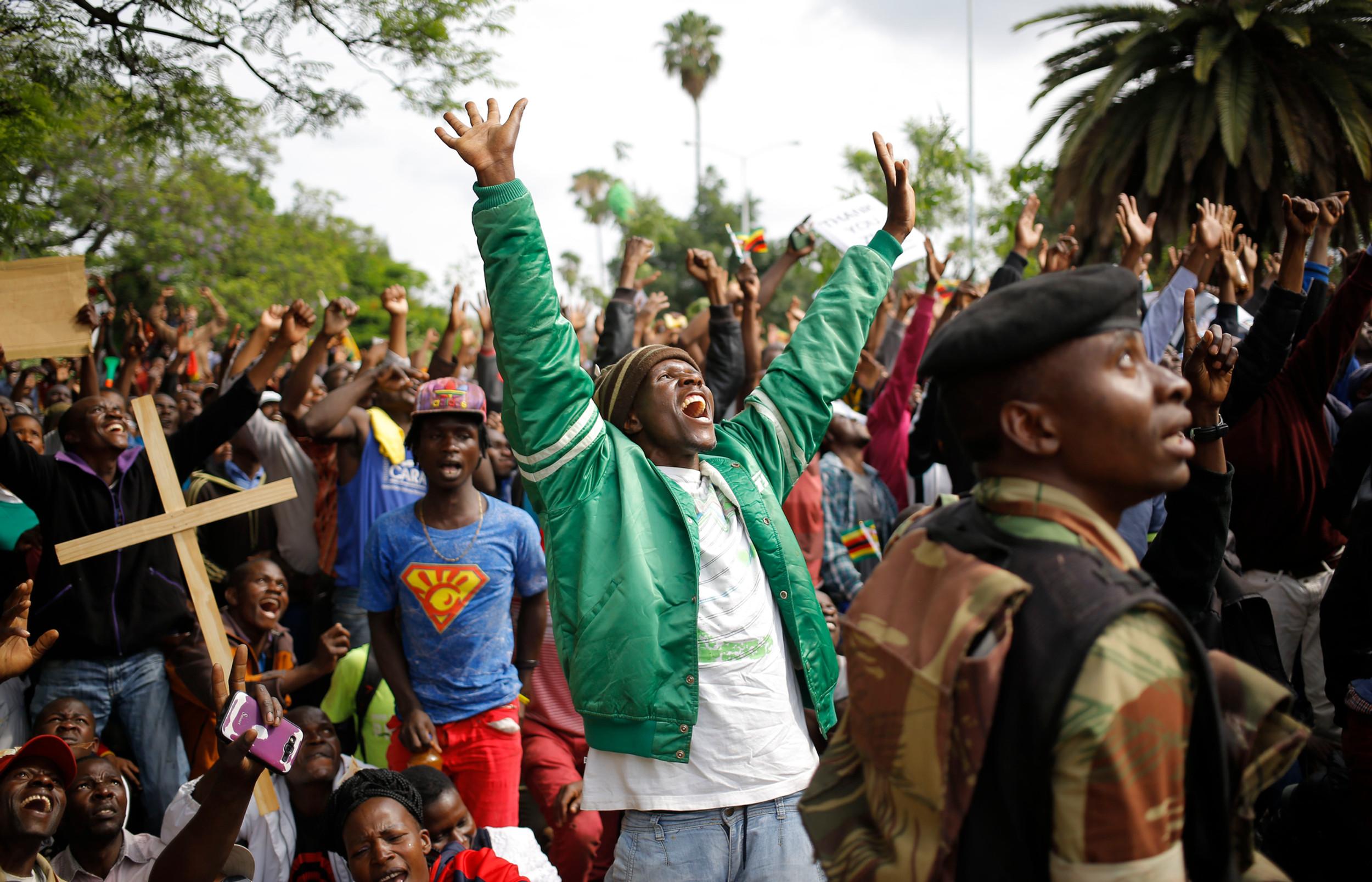 The fall of Mugabe, Zimbabwe.