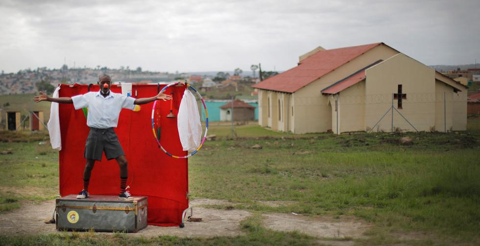 Clown clown in rural South Africa.