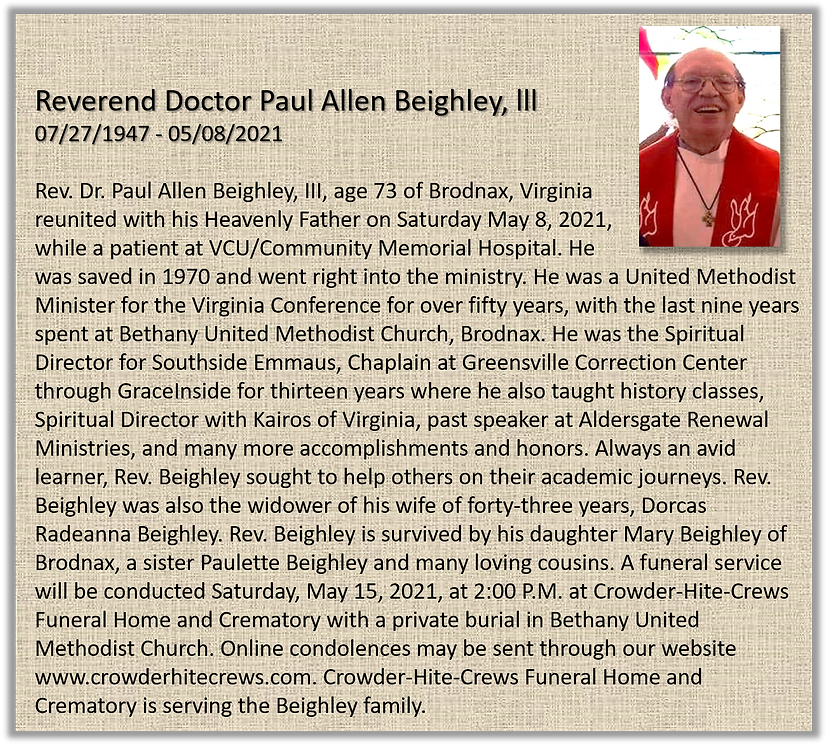 20210511 Rev Paul Beighley obit.png