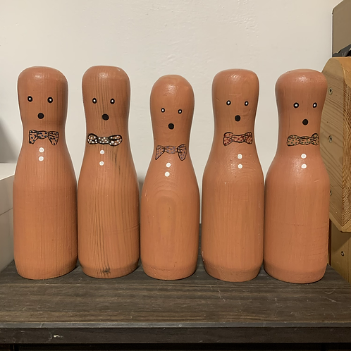 Hand Crafted Bowling Pins x 5
