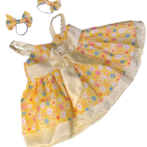 Spring Dress - Yellow with Flowers