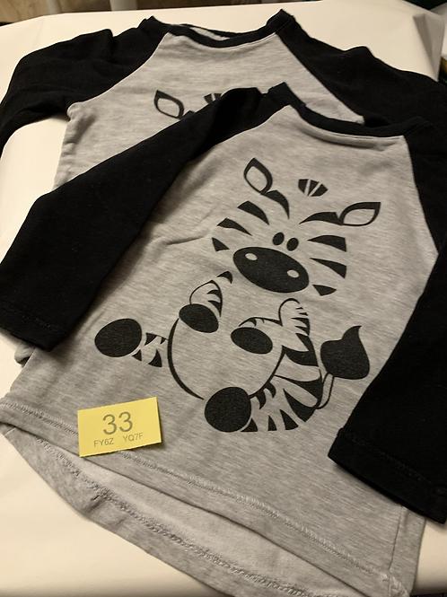 18m+ 2 x Handmade Zebra Long Sleeve T-Shirts - Y33