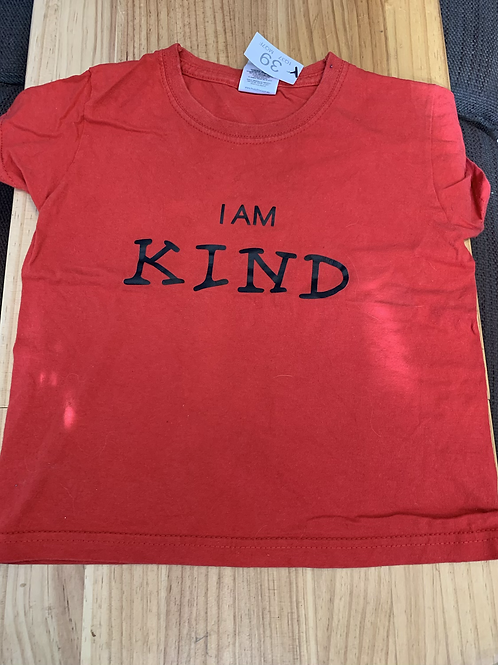 2-3 Years Red 'I am Kind' T-shirt - W39