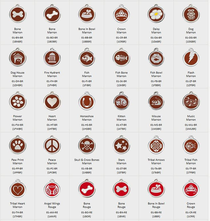 Médailles émail et motifs