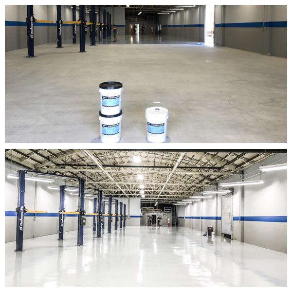 Grind concrete and coat with epoxy