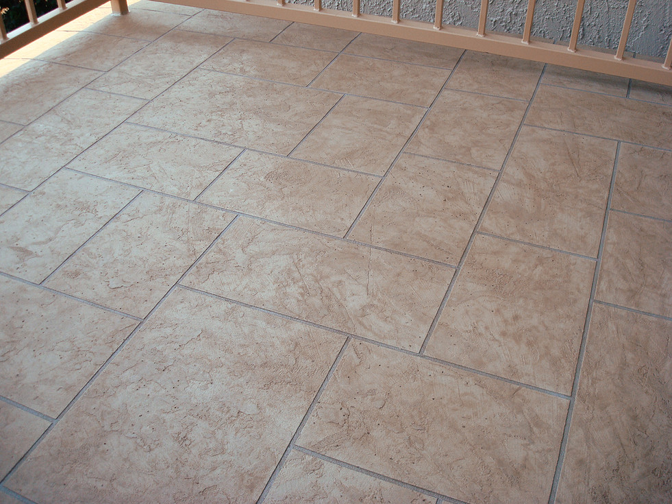 Texture Cement Overlay, Tile Pattern By Hand, Stain, Seal Over Waterproof Coating Deck