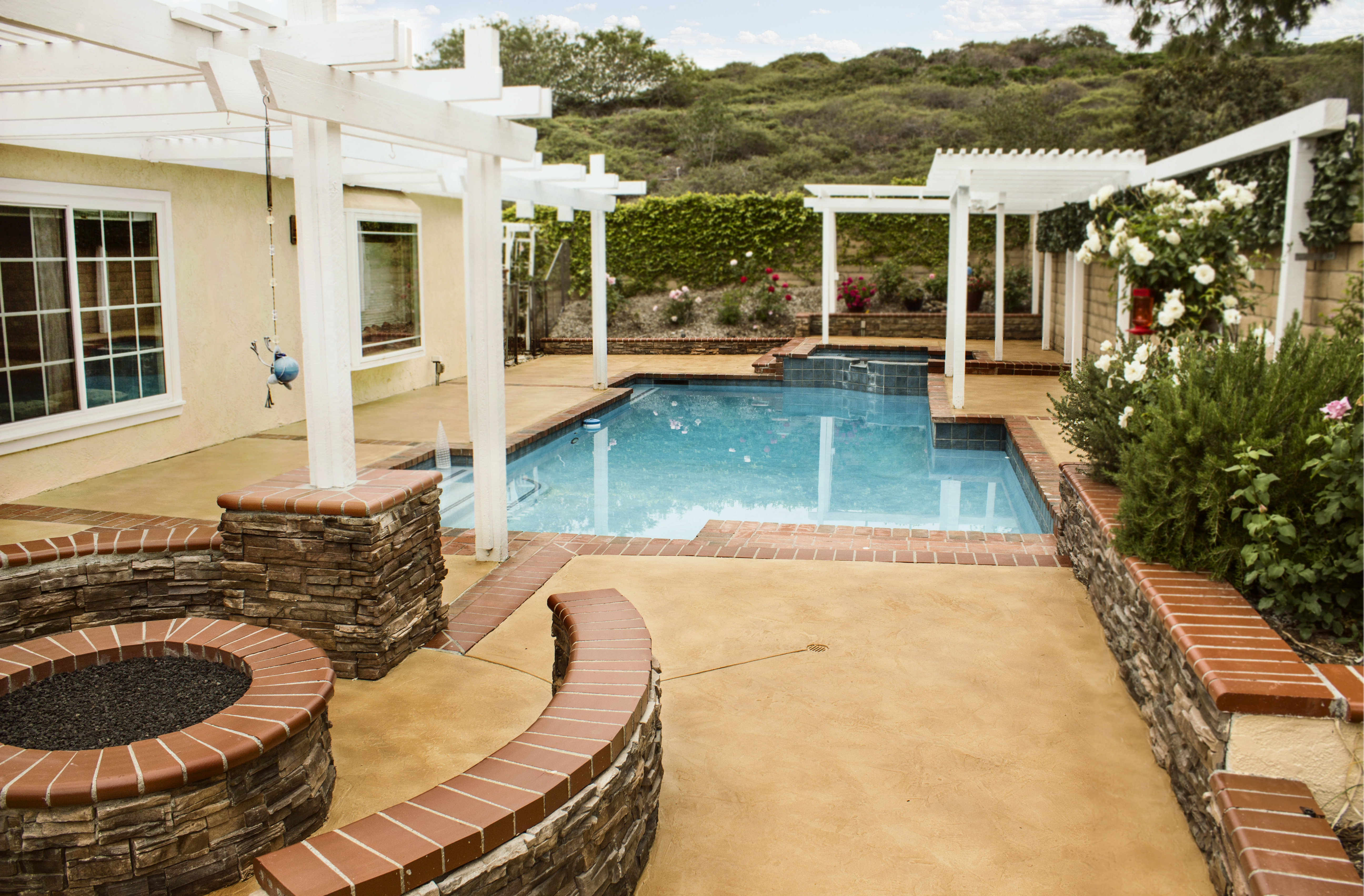 Pool Deck Concrete Overlay and Stain