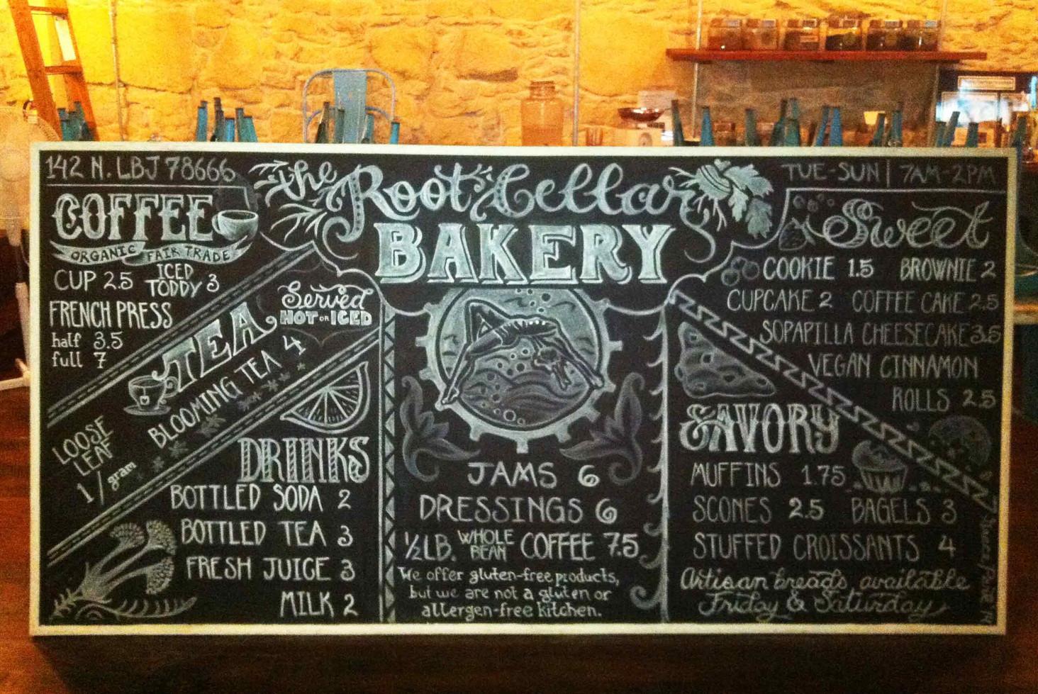 Root Cellar Bakery Menu