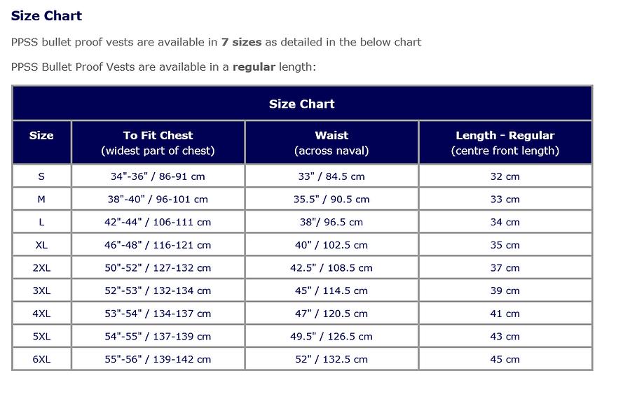 6d0b5442be4 Bullet Resistant Vests Size Chart