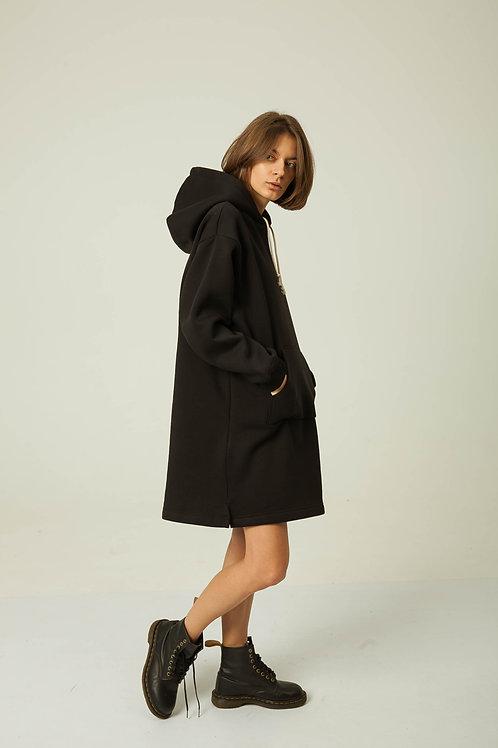 Черное худи-платье