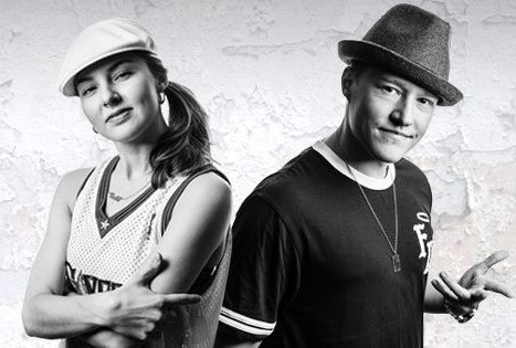the power couple bboy Focus and bgirl AT posing