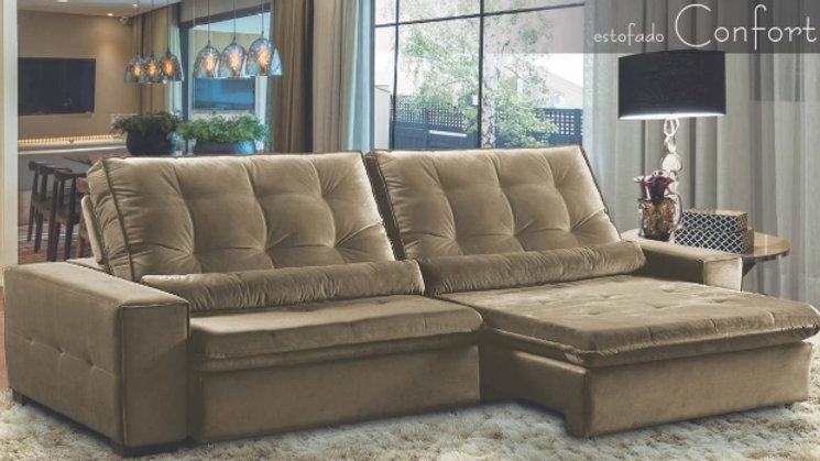 Sofá Confort 2,30m Com Molas Ensacadas Retrátil e Reclinável