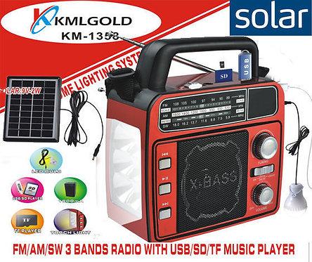 radyo solar sarjli el feneri fm usb sd kmlgold km 1358 yakensenerji