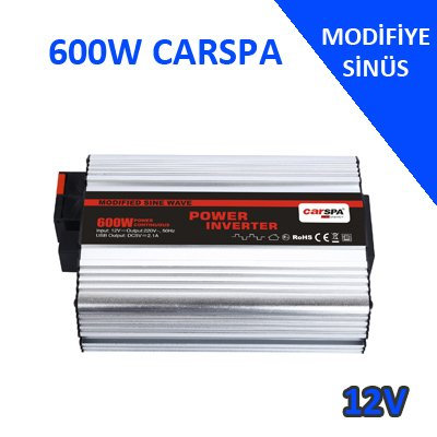 600W 12V MODİFİYE SİNÜS İNVERTER USB'Lİ CARSPA