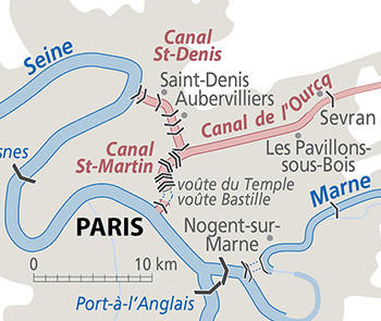 Diagram showing location of the three Paris canals (zooming on the Saint-Martin and Saint-Denis)