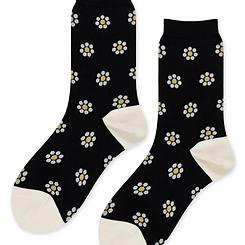 HFB DeeDee Daisy Black Crew Sock