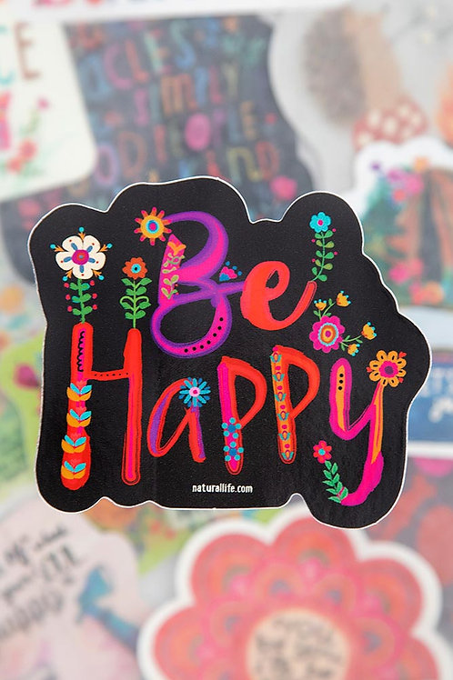 Be Happy Black/Multi~Vinyl Sticker