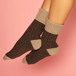 Catherine Tough Slouch Cashmere Sock Coco~Mushroom
