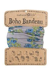 Natural Life Boho Bandeau Blue Taupe Blooms