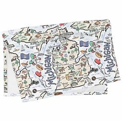 Michigan Map Tea Towel
