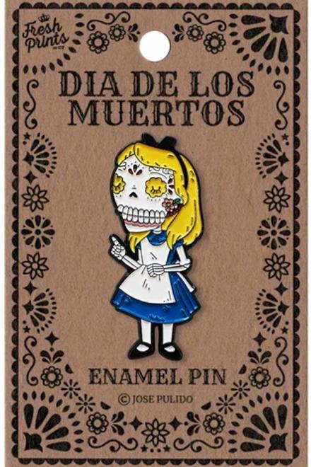 Dia De Los Muertos Alice in Wonderland Enamel Pin
