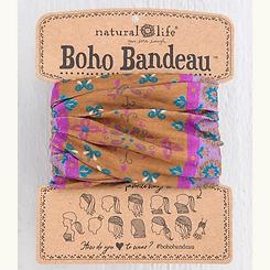 Natural Life Boho Bandeau Gold Purple Flower Mandala