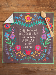 Natural Life She Believed Cotton Dish Towel