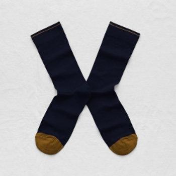 Bonne Maison Solid Night Navy Crew Sock