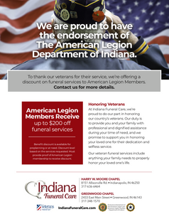 Indiana Funeral Care Full Page Program Ad