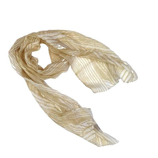 Silk Scarf - Wavy Golden Lines