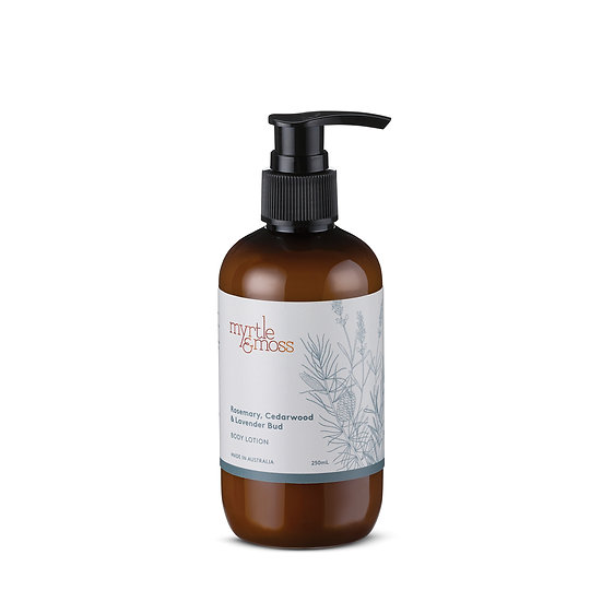 Myrtle & Moss Body Lotion 250mL; Rosemary, Cedarwood & Lavender Bud