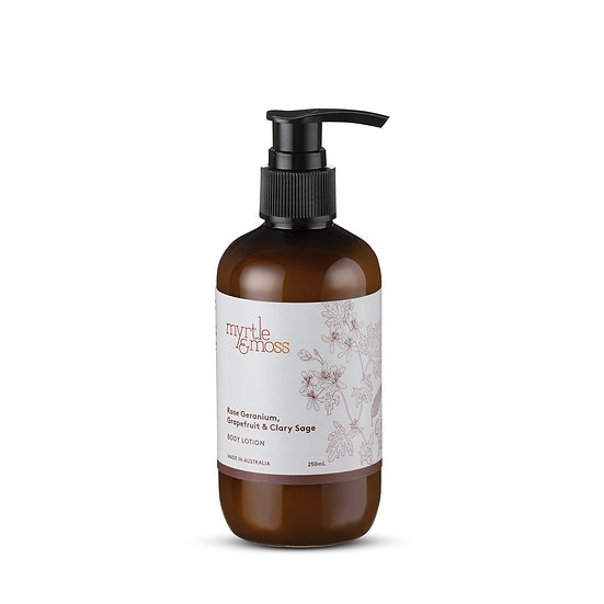 Myrtle & Moss Body Lotion 250mL; Rose Geranium, Grapefruit and Clary Sage