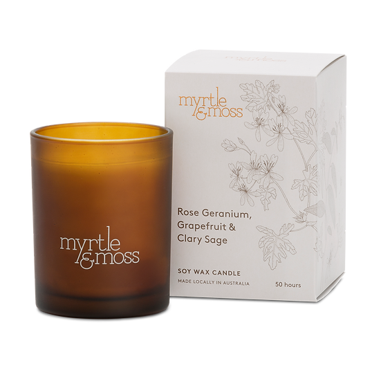 Myrtle & Moss Soy Wax Candle; Rose Geranium, Grapefruit and Clary Sage
