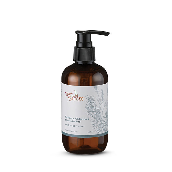 Myrtle & Moss Hand & Body Wash 250mL; Rosemary, Cedarwood and Lavender Bud
