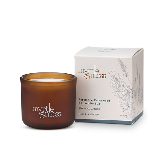 Myrtle & Moss Soy Wax Candle; Rosemary, Cedarwood and Lavender Bud