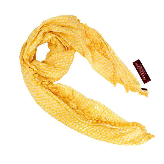 Cotton Scarf -Bright Yellow Bobble (13997)