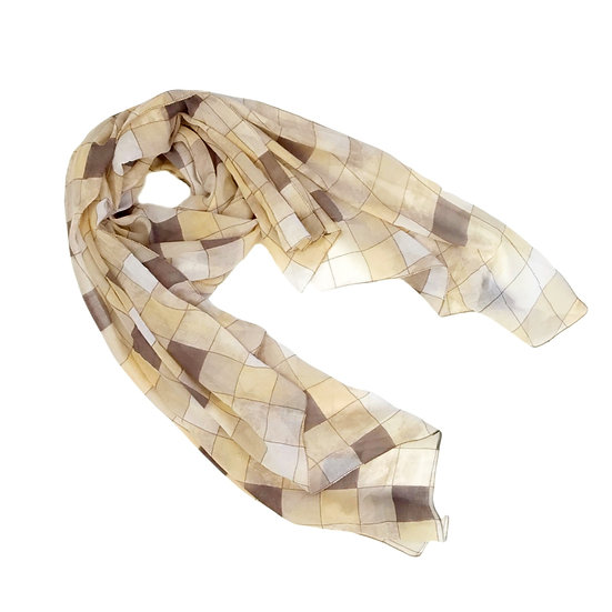 Scarf - Soft Yellow and Taupe Squares