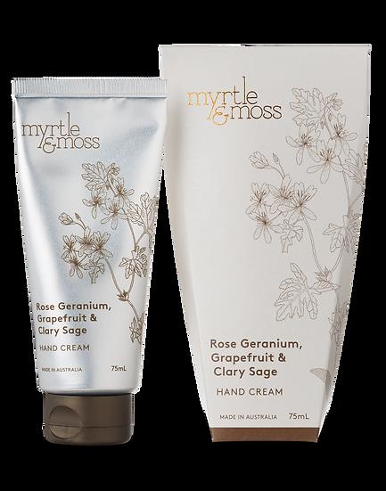 Myrtle & Moss Hand Cream; Rose Geranium, Grapefruit & Clary Sage